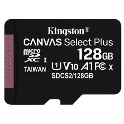 128 GB . microSDXC karta Kingston Canvas Select Plus Class 10 (r/w 100MB/s) bez adaptéra