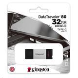 32 GB . USB-C 3.2 Gen 1 kľúč . Kingston DataTraveler 80