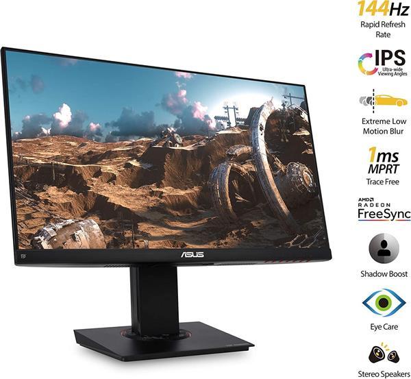 """ASUS VG249Q 24"""" IPS FHD 1920x1080 144Hz 100mil:1 1ms 250cd D-SUB HDMI DP repro čierny"""