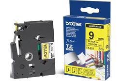 BROTHER TZe-621 čierna potlač/žltá páska 9 mm