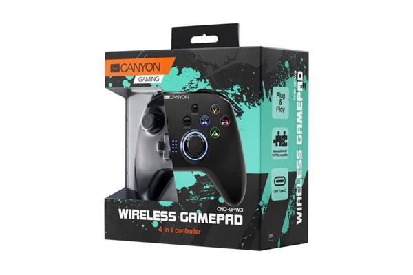 Canyon CND-GPW3 Gamepad 4v1 pre PC, Android, PS3, Nintendo Switch, bezdrôtový, motion senzor, USB-C nabíjací kábel