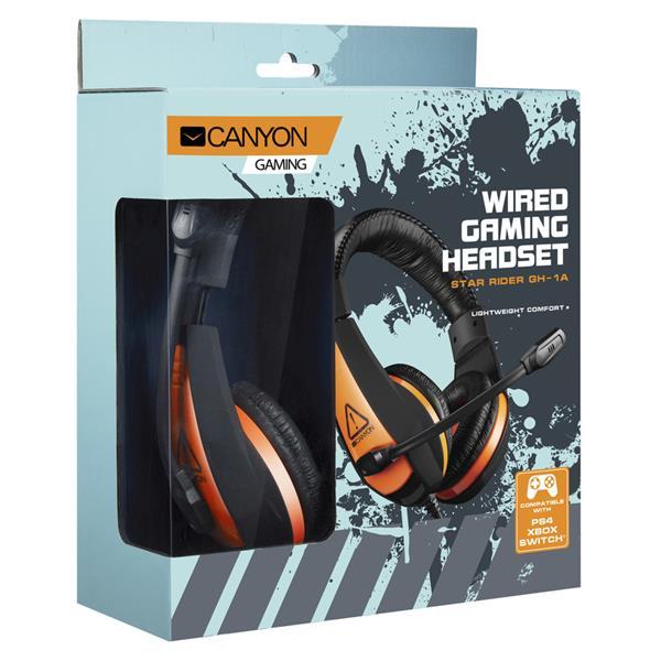 Canyon CND-SGHS1A Star Rider, herný headset pre začínajúcich hráčov, 3.5mm jack, oranžovo čierny