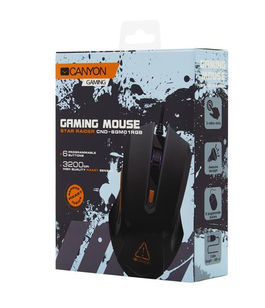 Canyon CND-SGM01RGB Star Rider herná myš, drôtová, optická, 800 - 3.200 dpi, 6 program. tlač, LED podsv., čierna
