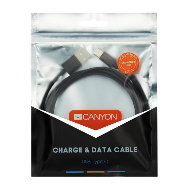 Canyon CNE-USBC2B, 1.8m kábel USB-C / USB 2.0, 5V 1A, priemer 3.5mm, PVC, čierny