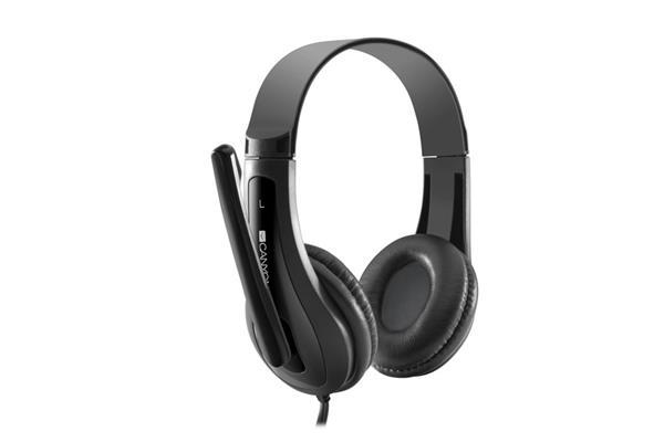 Canyon CNS-CHSC1B, PC Headset, slúchadla s mikrofónom, 1 x 3.5mm jack komb., ovládanie na kábli, 2 m, čierne