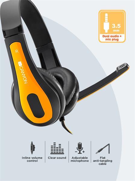 Canyon CNS-CHSC1BY, PC Headset, slúchadla s mikrofónom, 1 x 3.5mm jack komb., ovládanie na kábli, 2 m, čierno-žlté
