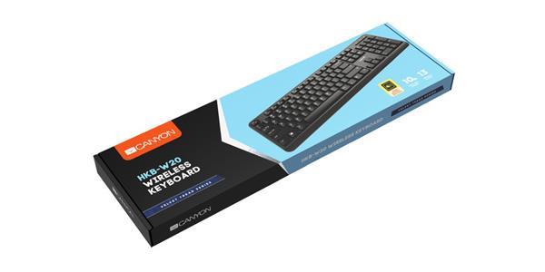 Canyon CNS-HKBW02-CS, štíhla bezdrôtová klávesnica 2.4GHz, USB nano receiver, 104/13 multimed. klávesov, SK/CZ