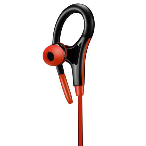 Canyon CNS-SEP2R slúchadlá do uší pre športovcov, integrovaný mikrofón a ovládanie, háčik za ucho, červené