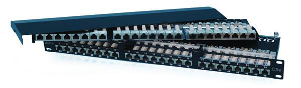 CNS patch panel 48port Cat5e, FTP, blok 110, vyväz. lišta, 1U čierny