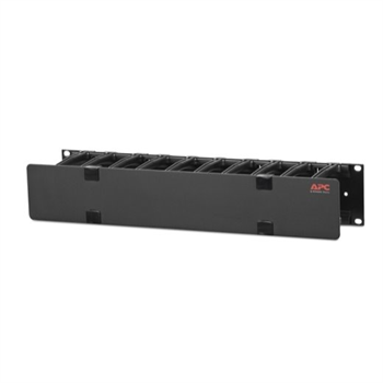 """Horizontal Cable Manager, 2U x 4"""" Deep, Single-Sided with Cover"""
