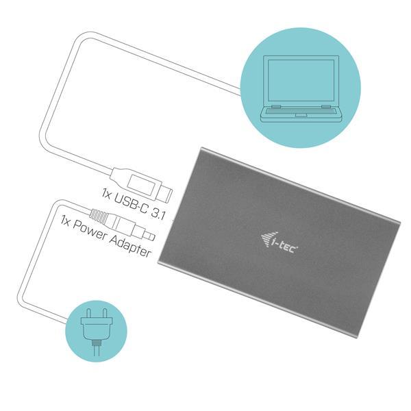 "i-tec MySafe USB-C 3.5"" SATA HDD Metal External case 10Gbps"
