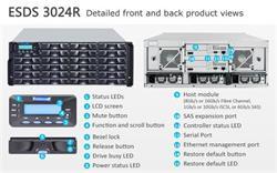 INFORTREND (ESDS 3024R), 4U, 2x host board sloty, 2x6G SAS exp.,24xHDD bay, Dual Controller, 2x2GB, 3x PWS