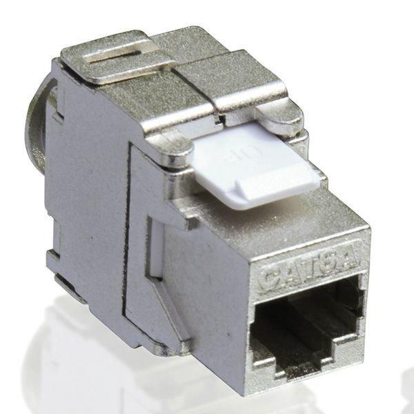 Keystone Cat6a, STP, 180 stupnov, priame pripojenie, toolless, RJ-45, strieborný