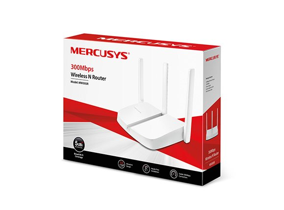 MERCUSYS MW305R 300Mbps Wireless N Router, 1 10/100M WAN + 3 10/100M LAN, 3 fixed antennas