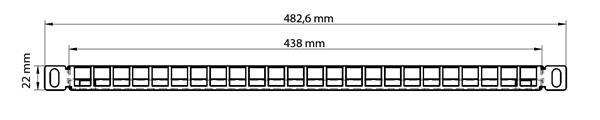Patch panel 10G, 24port Cat6A, vrátane keystonov, 0,5U nerez