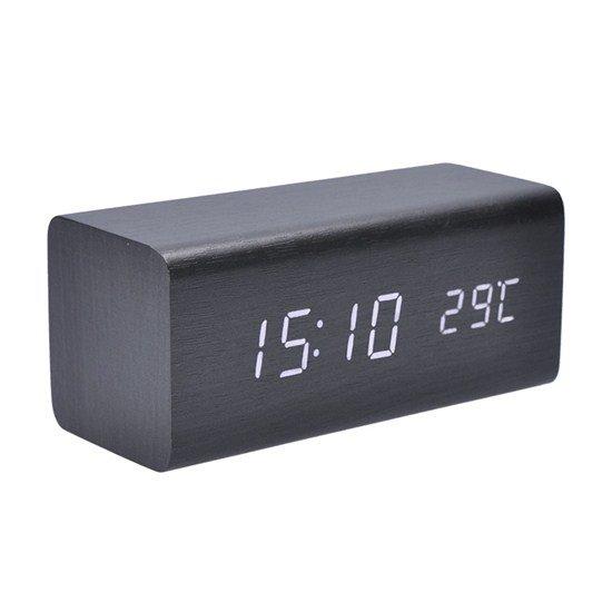 Solight hodiny s budíkom, biele LED podsvietenie, tri budíky, nastaviteľná intenzita podsvietenia, teplomer, dekor: čier