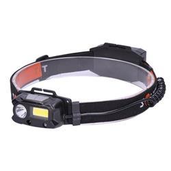 Solight LED čelové nabíjacie svietidlo, 3W + COB, 150lm + 60lm, Li-ion