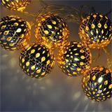 Solight LED reťaz vianočné gule zlaté, 10LED reťaz, 1m, 2x AA, IP20