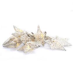 Solight LED reťaz vianočné hviezdy biele prepletané, 10LED reťaz, 1m, 2x AA, IP20