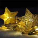Solight LED reťaz vianočné hviezdy zlaté, 10LED reťaz, 1m, zlatá farba, 2x AA, IP20