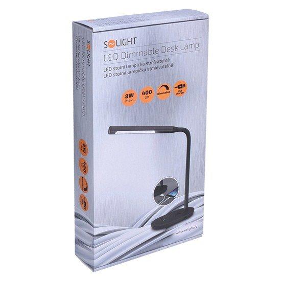 Solight LED stolná lampička stmievateľná, 8W, 4500K, USB, černá