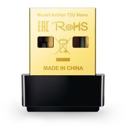 TP-LINK Archer T2U Nano AC600 Wi-Fi USB Adapter, Nano Size, 433Mbps at 5GHz + 150Mbps at 2.4GHz, USB 2.0