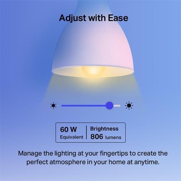 "TP-LINK ""Smart Wi-Fi Light Bulb, MulticolorSPEC: 2.4 GHz, IEEE 802.11b/g/n, E27 Base, 220–240 V, 50/60 Hz, Brightness:"