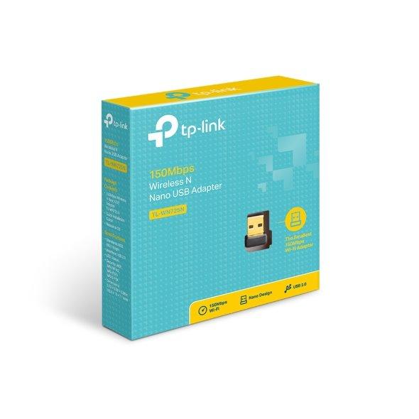 TP-LINK TL-WN725N 150Mbps Wi-Fi USB Adapter, Nano Size, USB 2.0